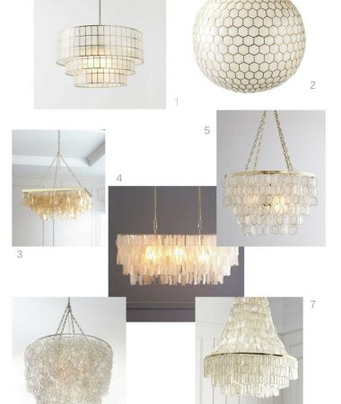 capiz chandelier for a coastal dining room