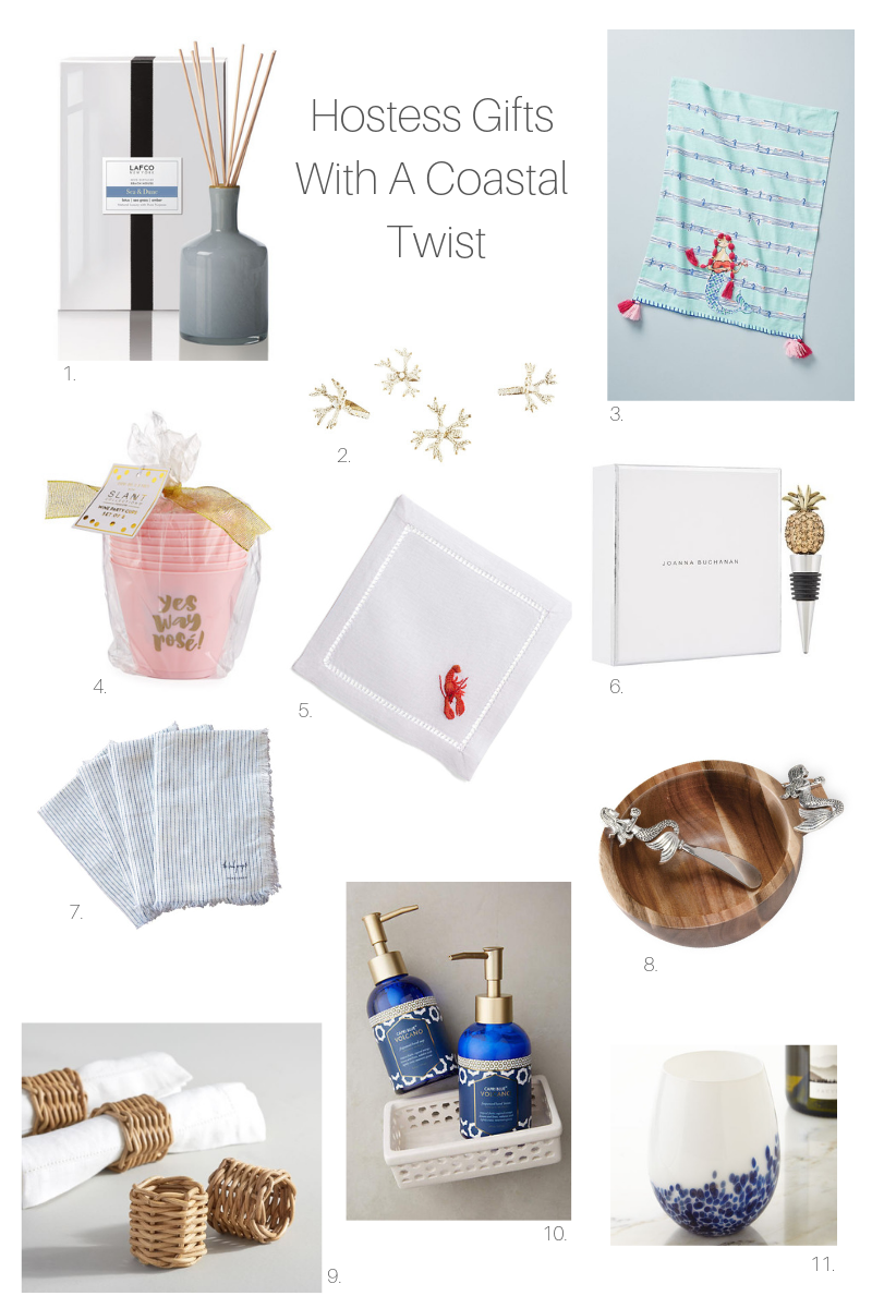 This is an amazing list of Hostess Gifts with a Coastal Twist. Perfect for the upcoming holiday as well! #coastalgifts #hostessgifts