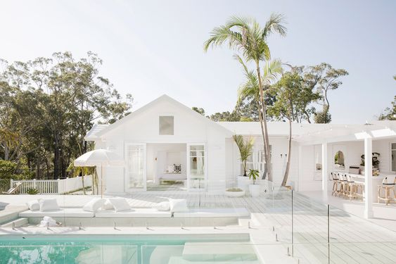 White outdoor pool area