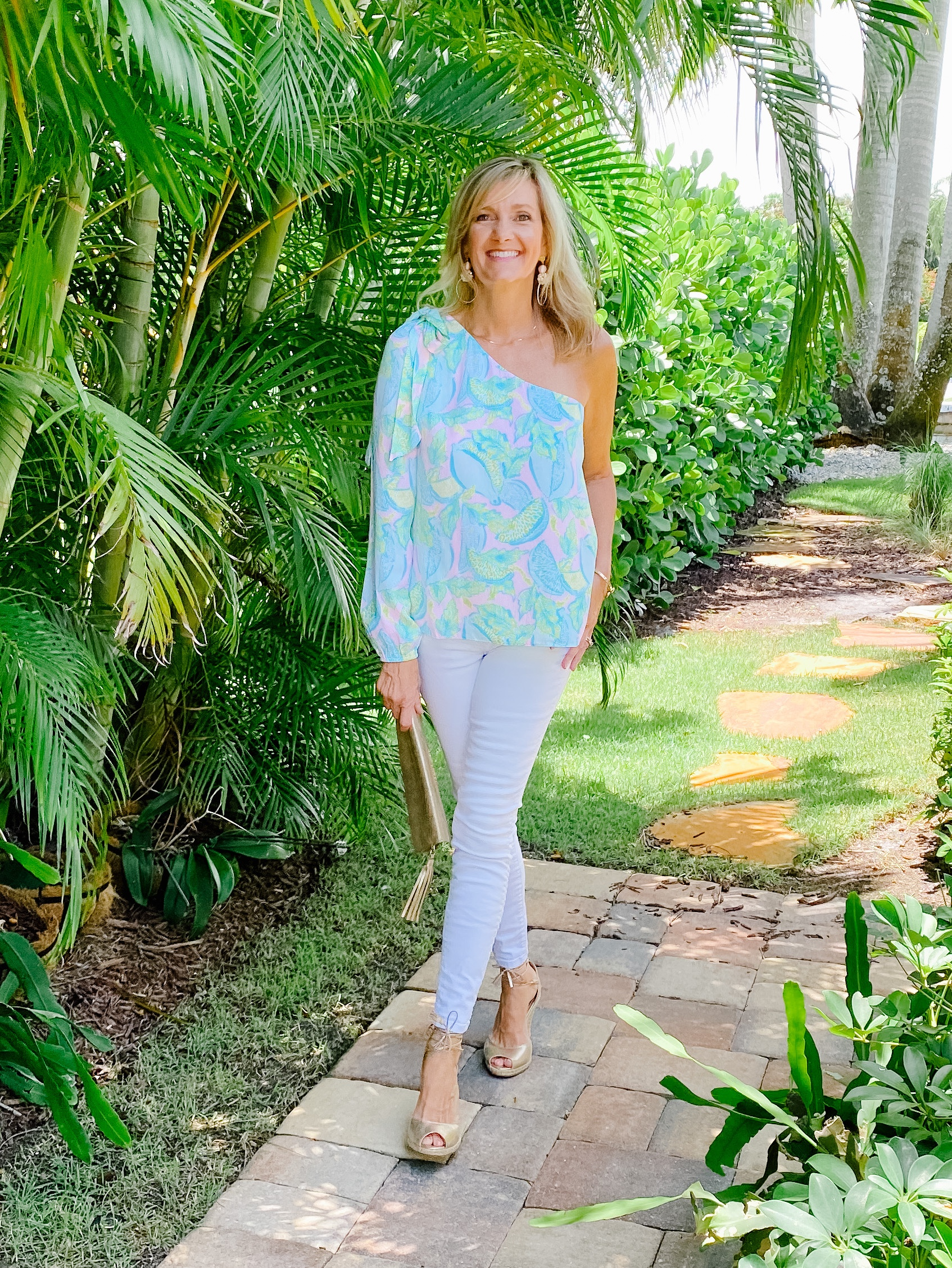 Lilly Pulitzer top and White Jeans For Date Night! 5 outfit ideas for women over 50.